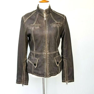 Kenneth Cole Reaction Women Distressed Moto Jacket